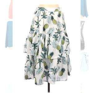 🍍 White Cotton Skirt by Ina Tropical Pineapples